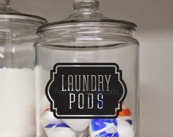 10% off sale Laundry Pods Canister Label, vinyl decal, laundry pods container sticker, farmhouse laundry decor