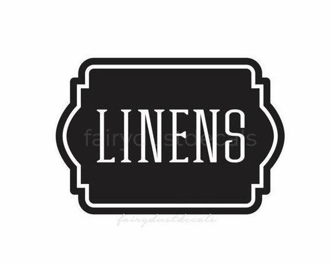 10% off sale Linen Closet Bathroom Door Decal, linens and towels, bathroom and laundry organization, vinyl labels for home decor
