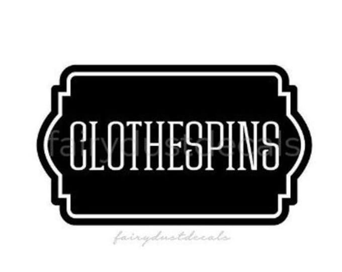 10% off sale Clothespins Vinyl Decal, Laundry Room Labels