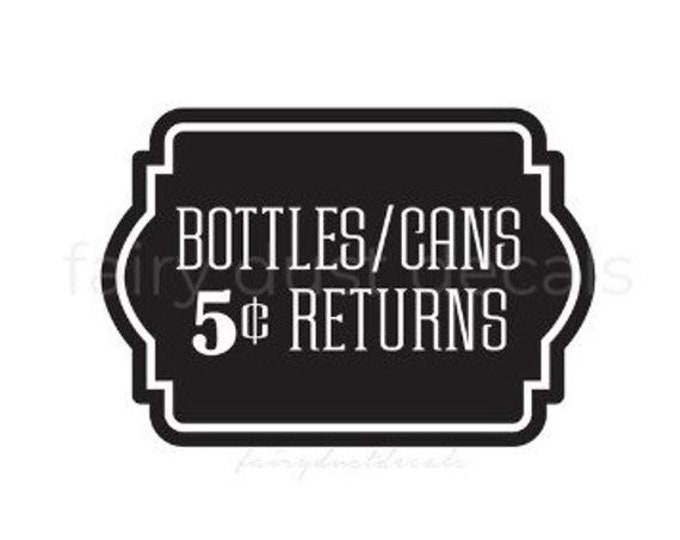 10% off sale Recycling Sticker, Bottles and Can Return, Recycle Bin Label, Trash Bin Vinyl Decal