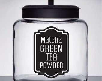 10% off sale Green Tea Powder Canister Label, Matcha Tea Vinyl Decal, healthy drink label, glass container label, pantry kitchen home organi