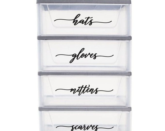 10% off sale Mudroom Storage Organization Labels, hat gloves mittens scarves, Vinyl Decals for cold weather, winter clothes