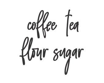 Canister Set Labels, Flour Sugar Coffee Tea Vinyl Decals