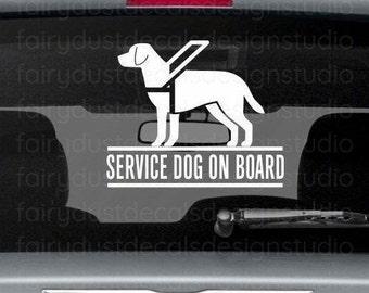 Service Dog On Board, Car Window Decal, free shipping