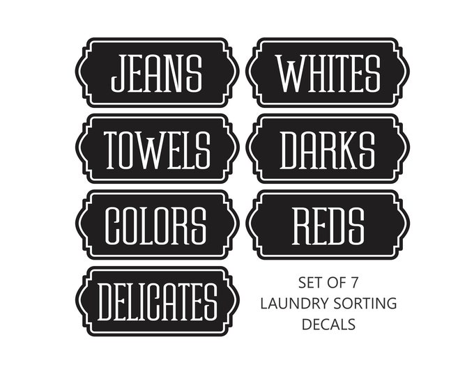 Laundry Hamper Decals, set of 7 vinyl labels for sorting clothes, laundry room organization, free shipping