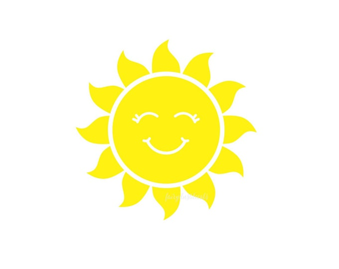 Sun decal for bedroom wall, yellow smiling sun wall decal for baby nursery, sunshine wall decor