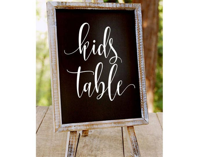 Wedding Decal - Kids Table - Chalkboard Sticker Vinyl Letters Sign Decal Reception Table Number Casual Boho Farmhouse Style Script Lettering