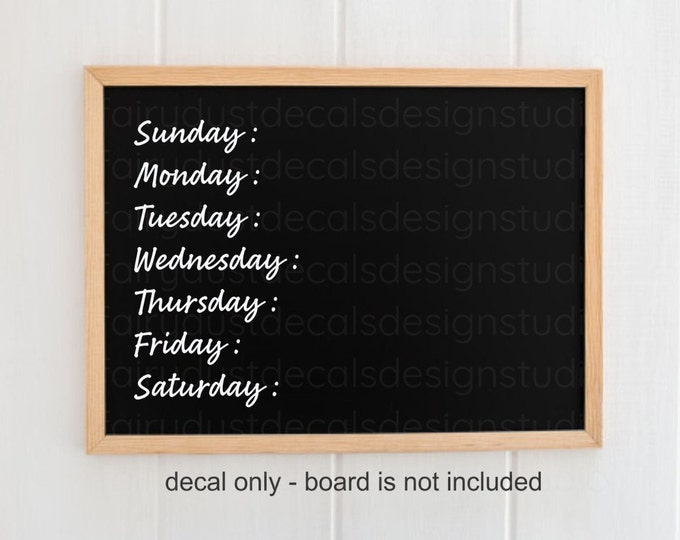 Days of the Week Decals, sports schedule, chalkboard sign labels, command center vinyl words, family dinner night, menu decals