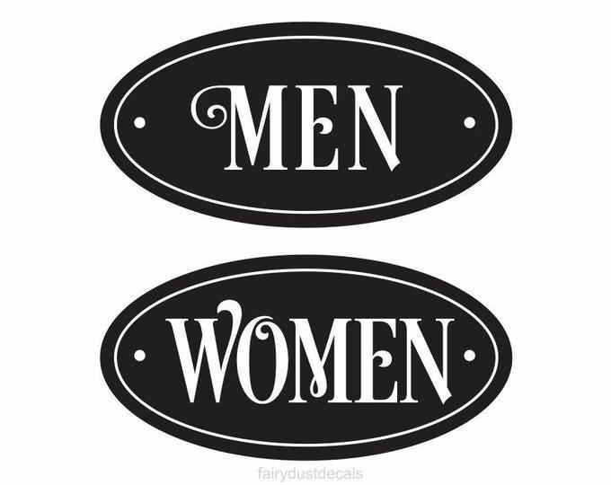 Restroom Decal, Mens Room Decal, Womens Room Decal, Vinyl Sticker for Door, Self Stick Matte Vinyl Decal, Oracal Vinyl, Bathroom Decal Label
