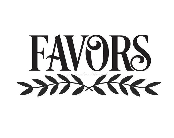 Favors Decal. wedding favors vinyl decal, favors container decal, wedding and bridal shower decor, favors sticker