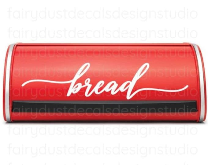Bread Box Decal, Handwritten Style Letter, vinyl label for kitchen pantry bread storage