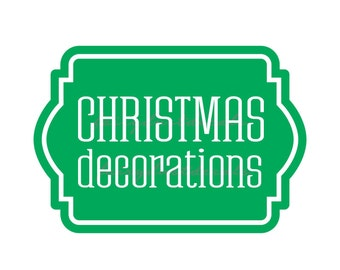 Christmas Decorations Storage Label, Plastic Tote Vinyl Decal, Holiday Decorations Sticker for Storage Container, Home Organization