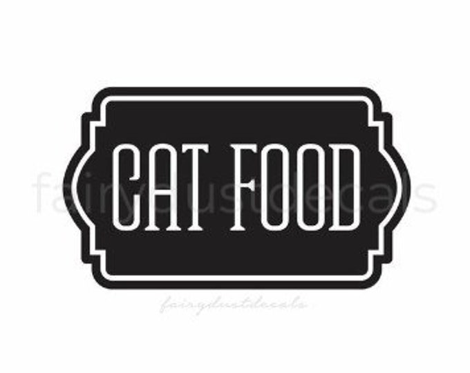 Cat Food Decal, Sticker for Cat Food Container, Vinyl Decal