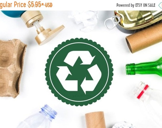 10% off sale Recycle Arrow Decal, recycling symbol label for trash bin, recycling arrows sticker for plastic tote container