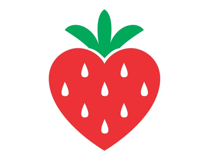 Strawberry vinyl decal, laptop sticker, valentines day, strawberry heart wall decal, strawberry sticker, red heart decal, strawberry decals