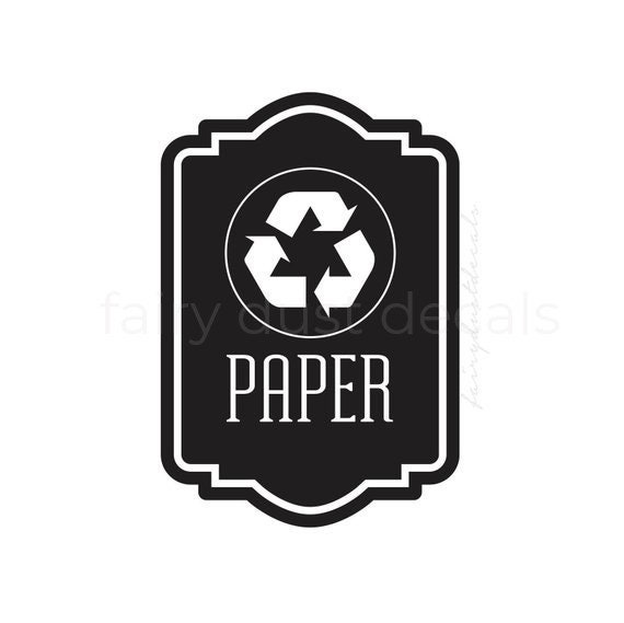 Recycle Symbol Label Recycle Bin Sticker Recycling Symbol Etsy