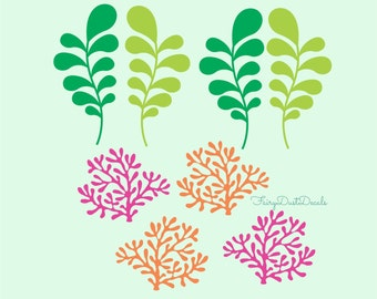 Seaweed and coral wall decals to decorate bedroom walls, ocean themed decals for baby nursery, seaweed and coal reef vinyl wall stickers