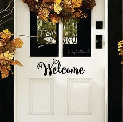 Welcome, Front Door Decal, Entryway, Front Porch Decal, Welcome Sticker,  Vinyl Letter, Sign Decal, New Home Gift, Farmhouse, Handwritten