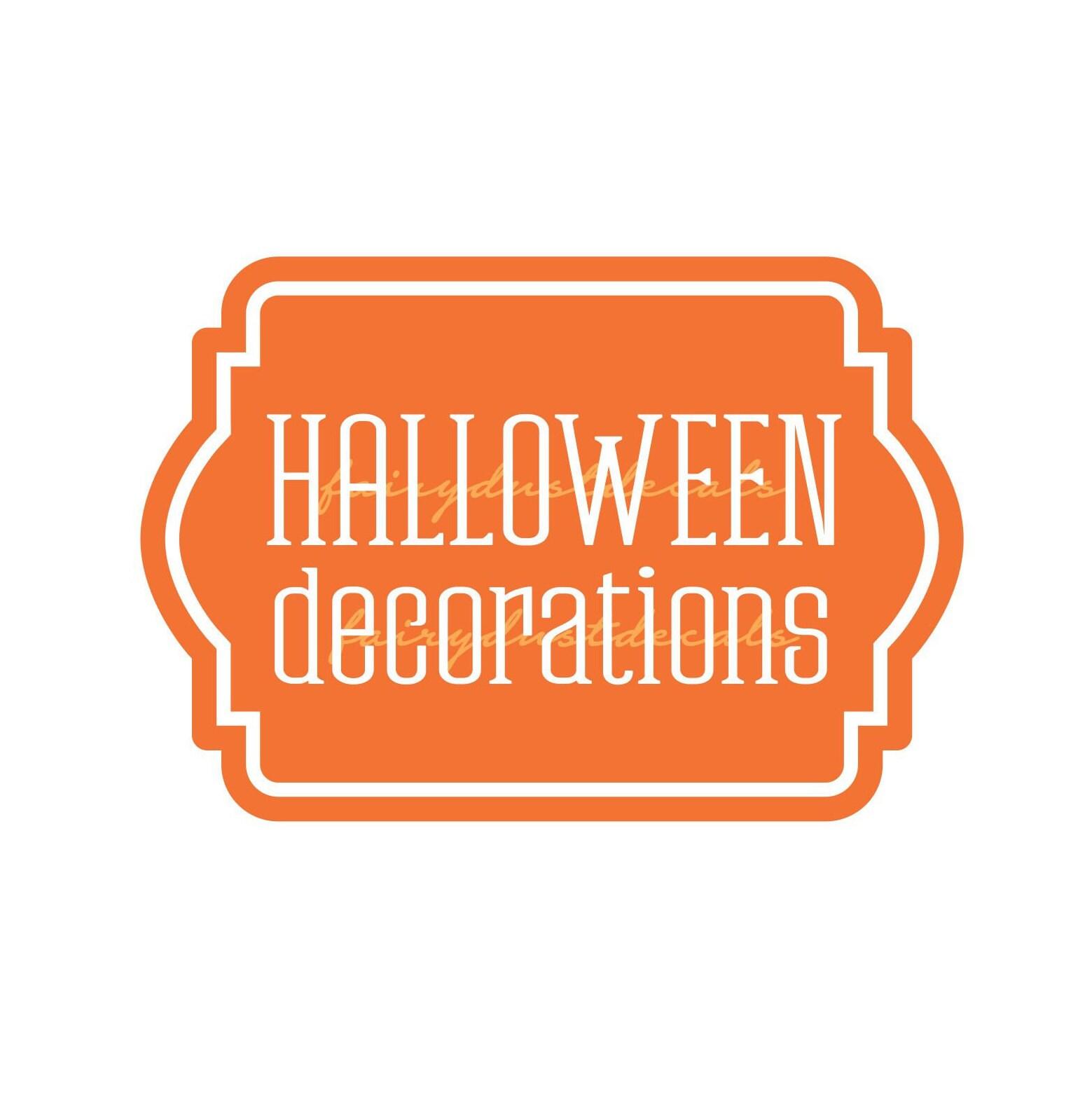 halloween decorations storage label, plastic tote vinyl decal