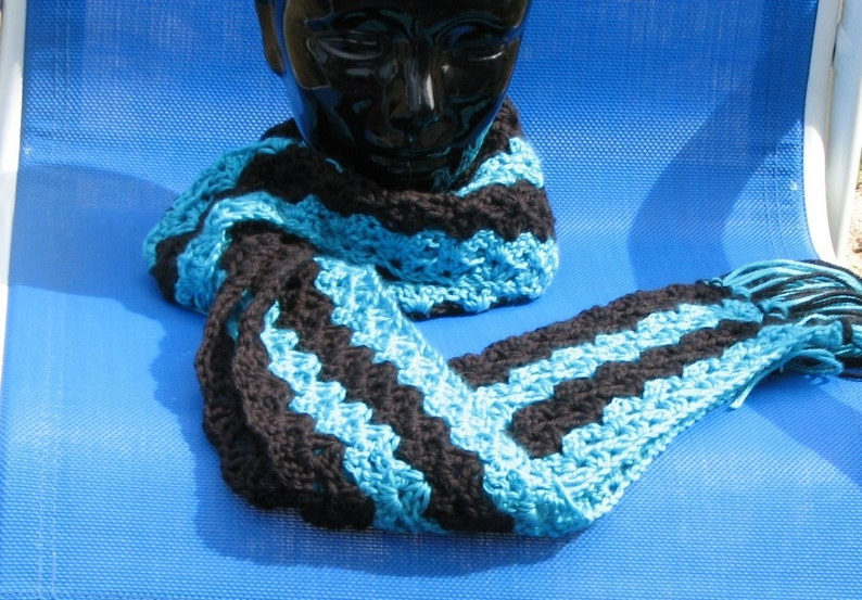 Black and Turquoise Skinny Scarf Cowl or Neck Warmer Hand image 0