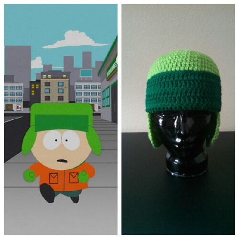 South Park Hat Kyle Inspired Crocheted Hat Beanie Green Ear image 0