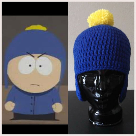 ec0960c11 Crochet South Park Craig Tucker Blue With Yellow Pom Pom Crocheted Earflap  Hat Perfect For A Craig Halloween Costume or Christmas gift Warm