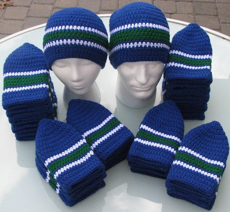 Canucks Colors Handmade Crocheted Skullcap Beanie Navy Green image 0