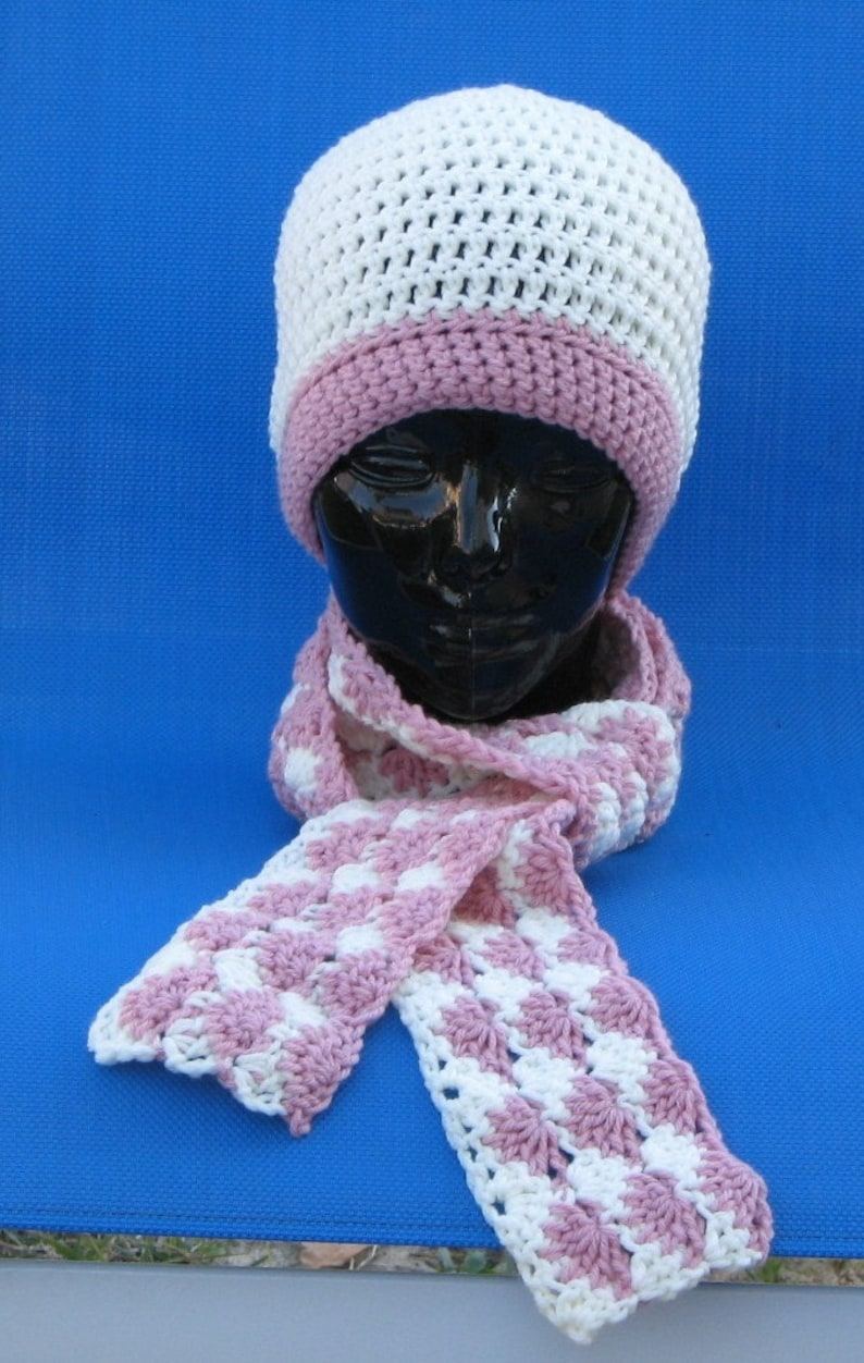 Crocheted Pink and Off White Hat skullcap beanie Strawberries image 0