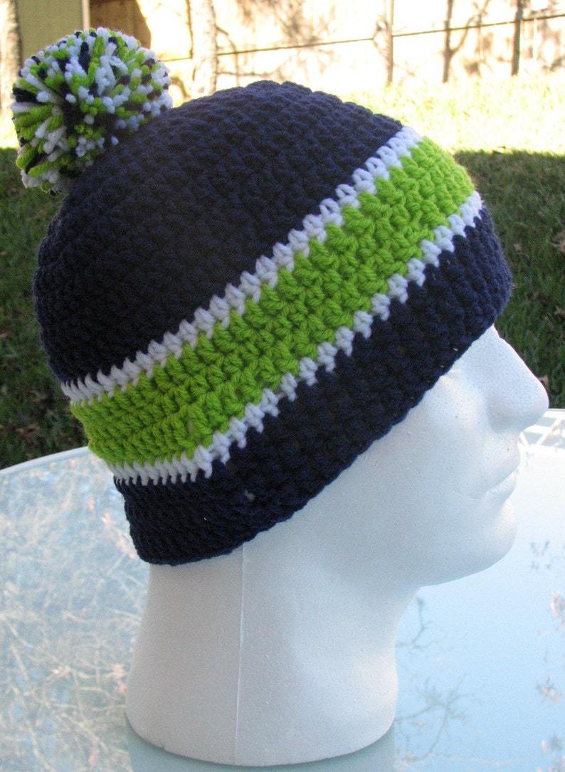 Seattle Seahawks Crocheted Skull Cap Beanie Game Day Gear  e98a0b12096