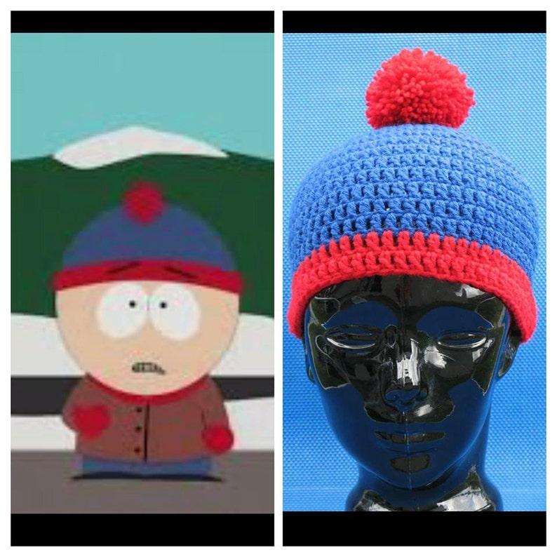 South Park Crochet Stan Marsh Beanie hat skull cap blue red image 0