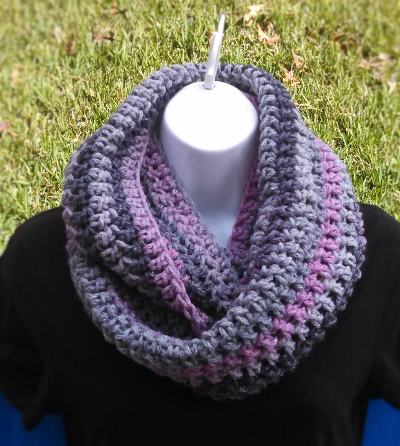 Hand Crocheted Pink/Gray Infinity Cowl Scarf Soft Warm image 0