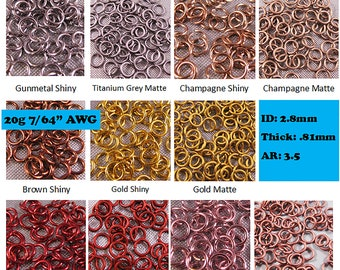 """Saw Cut Chainmail Anodized Lavender 300-3000 Jump Rings .062/"""" 1//4/"""" ID 14g AWG"""