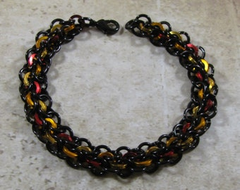Learn Chain Maille Abhainn Bracelet PDF Tutorial - Black, Red, Orange & Gold