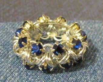 Beginner Chain Maille Kit - Simple Japanese Rhinestone Ring - Silver & Sapphire