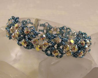 Queen of Diamonds Chain Maille Bracelet Kit - Sky Blue & Crystal AB