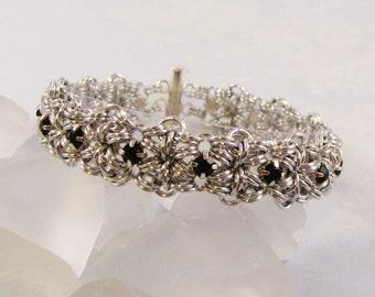 Dots & Diamonds Rhinestone Bracelet Kit - Silver and Jet Black