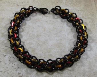 Learn Chain Maille Abhainn Bracelet Kit - Black with Red, Orange & Gold