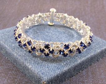 Beginner Chain Maille Kit - Rhinestone Simple Squares Bracelet Kit - Silver & Sapphire