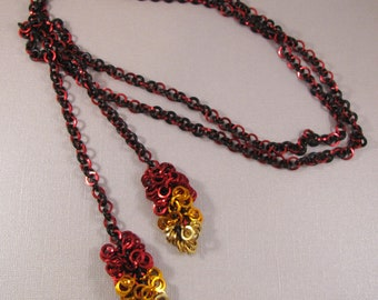 Learn Chain Maille Cha Cha Fire Lariat - Black, Red, Orange and Gold
