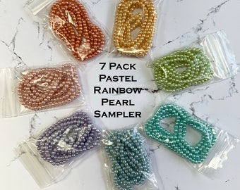 4mm Glass Pearl Pastel Rainbow Sampler Pack (7 strands)