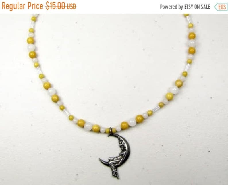 FALL SALE  Yellow & White Jade Bead Necklace or Choker with image 0