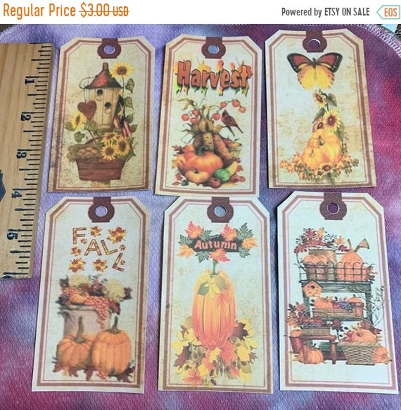 FALL SALE  6 Harvest Autumn Fall Tags or front for Card image 0