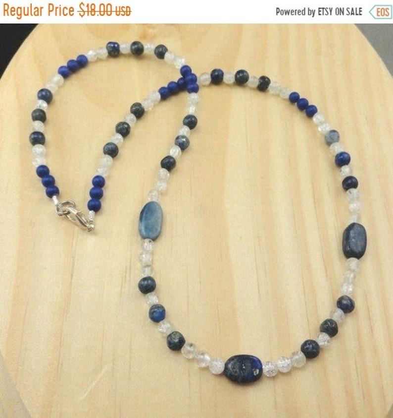 FALL SALE  Lapis Lazuli and Crystal Quartz Bead Necklace image 0