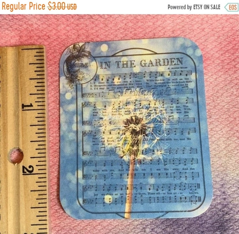 FALL  SALE In The Garden with Dandelion Tags or picture for cards or scrapbook blank back 9 Hymn