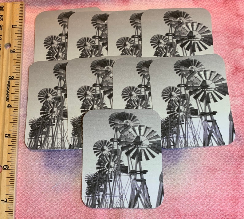 FALL  SALE 9 Black and White Windmill Tags or for Card Making blank back