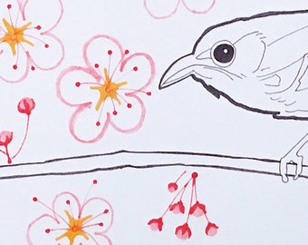 Bird With Cherry Blossoms