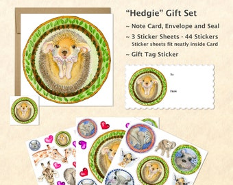 Cute Baby Animals Card and Stickers Gift Set, Cute Animal Stickers, Kids Gifts, Fun Gifts