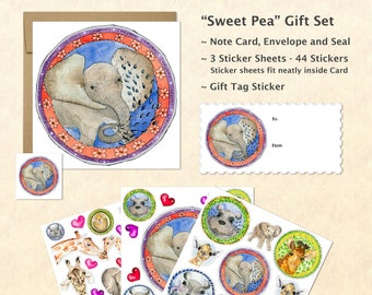 Cute Baby Animals Card and Stickers Gift Set, Cute Baby Elephant Card and Stickers,  Cute Animal Stickers, Kids Gifts, Fun Gifts