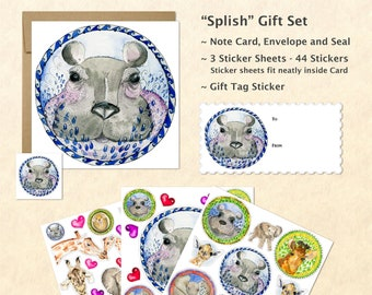 Cute Baby Animals Card and Stickers Gift Set, Cute Baby Hippo Stickers, Cute Baby Hippo Cards, Cute Animal Stickers, Kids Gifts, Fun Gifts