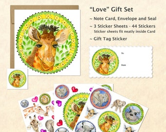 Cute Baby Animals Card and Stickers Gift Set, Cute Baby Giraffe Card and Stickers, Cute Animal Stickers, Kids Gifts, Fun Gifts